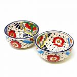 Encantada Handmade Pottery Bowls - Dots and Flowers, Set of Two