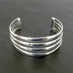 Silver Overlay Cuff  Four Bar Design