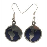 Silver Inlaid Earth Design Earrings