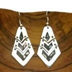 Articulated Mother of Pearl Inlay Silver Earrings