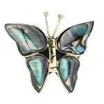 Silver Abalone Butterfly Pin