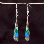 Turquoise/Abalone/Malachite Tear Drop Silver Earrings