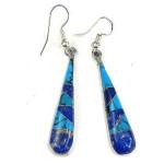 Turquoise and Lapis Tear Drop Earrings - Artisana