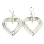 Large Silverplated Seven Hearts Earrings