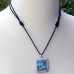 Turquoise and Abalone Square Pendant Necklace - Artisana