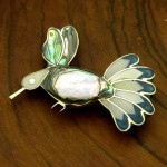 Silver Abalone and Mother of Pearl Hummingbird Pin