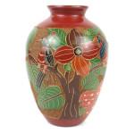 7 inch Tall Relief Vase - Tree of Life - Esperanza en Accion