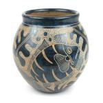 5 inch Tall Vase - Blue Fish - Esperanza en Accion