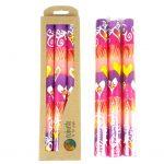 Tall Hand Painted Candles - Three in Box - Ashiki Design - Nobunto