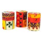 Set of Three Boxed Hand-Painted Candles - Indaeuko Design - Nobunto