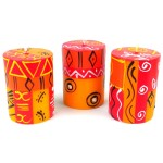 Set of Three Boxed Hand-Painted Candles - Zahabu Design