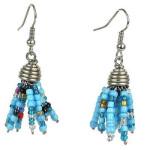 Blue Maasai Beaded Spike Earrings - Zakali Creations