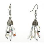 White Maasai Beaded Spike Earrings - Zakali Creations