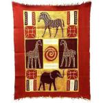 Four African Animals Batik in Red/Maroon - Tonga Textiles