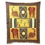 Dancers and Animals Batik in Gray/Red - Tonga Textiles
