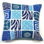 Handmade Blue Patches Batik Cushion Cover - Tonga Textiles